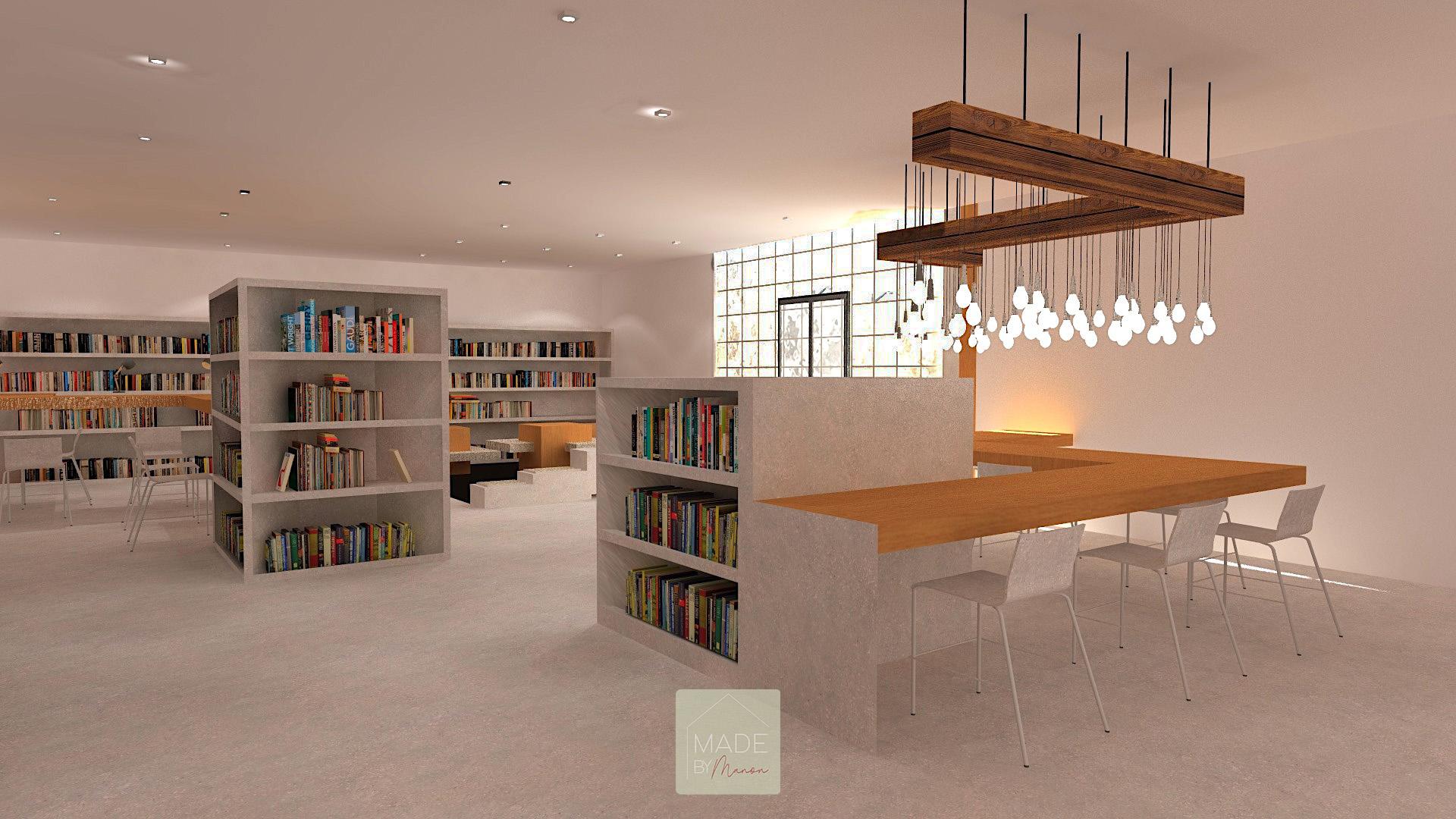 Bibliothèque avec mobilier en béton et bois brut