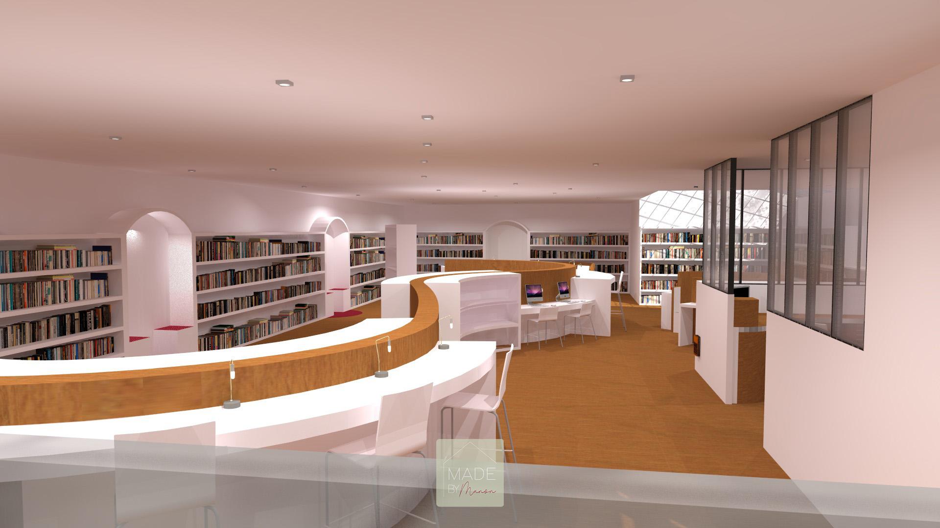 Bibliothèque avec mobilier de travail en bois