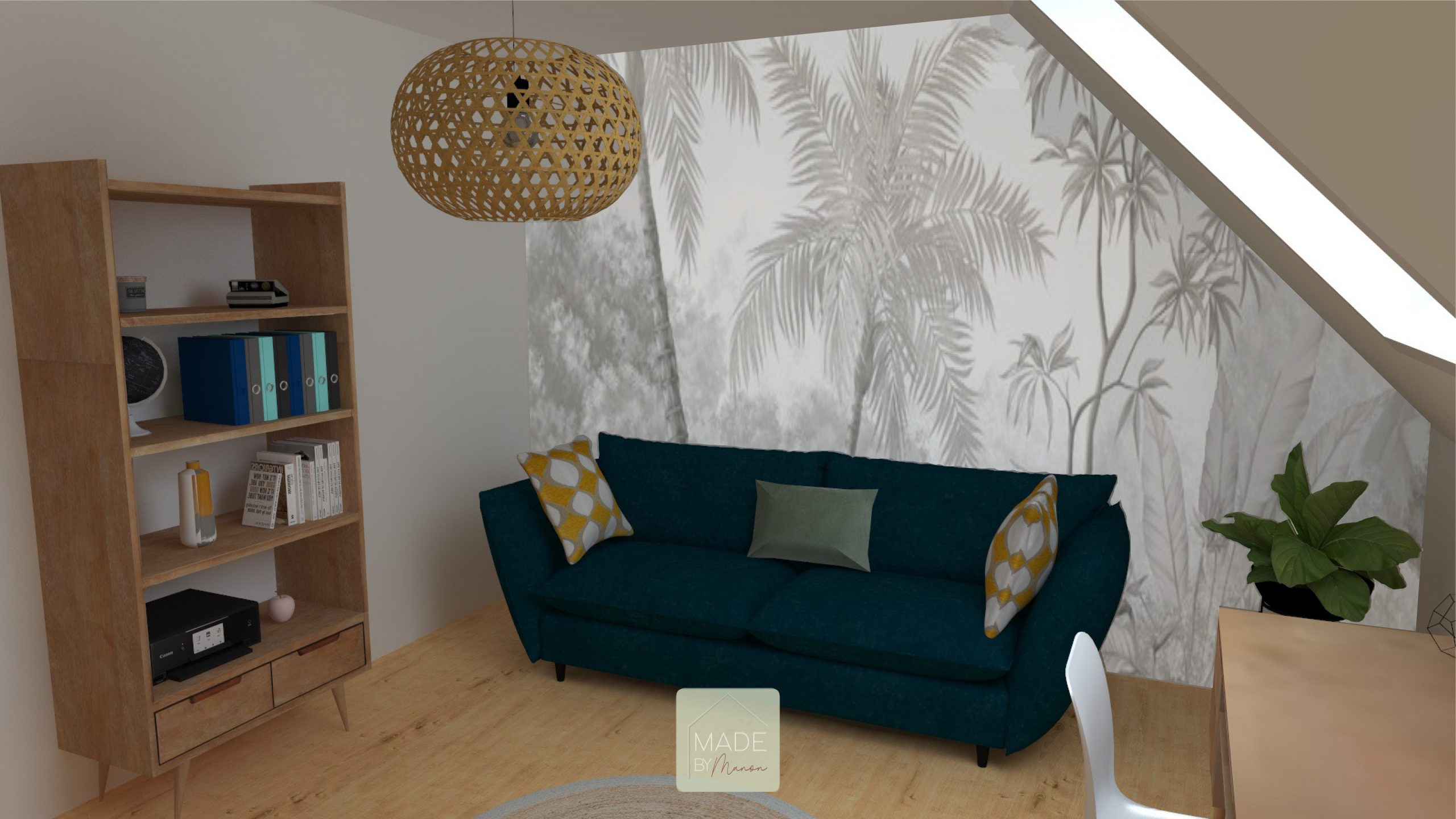 Bureau, chambre d'ami avec mobilier en bois et papier peint panoramique