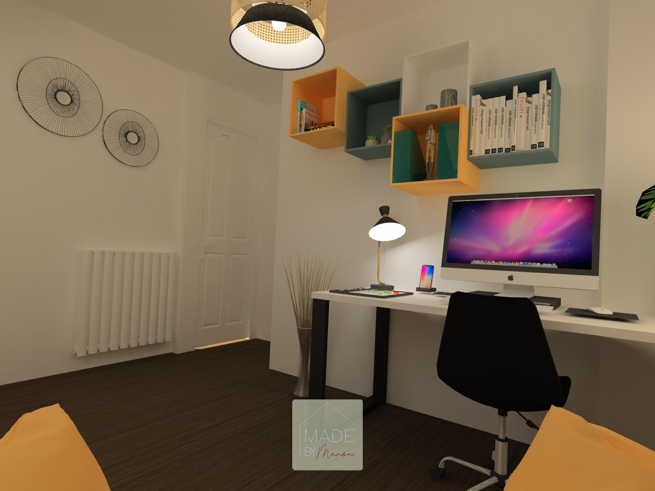 Bureau pour télétravail avec rangement et ordinateur