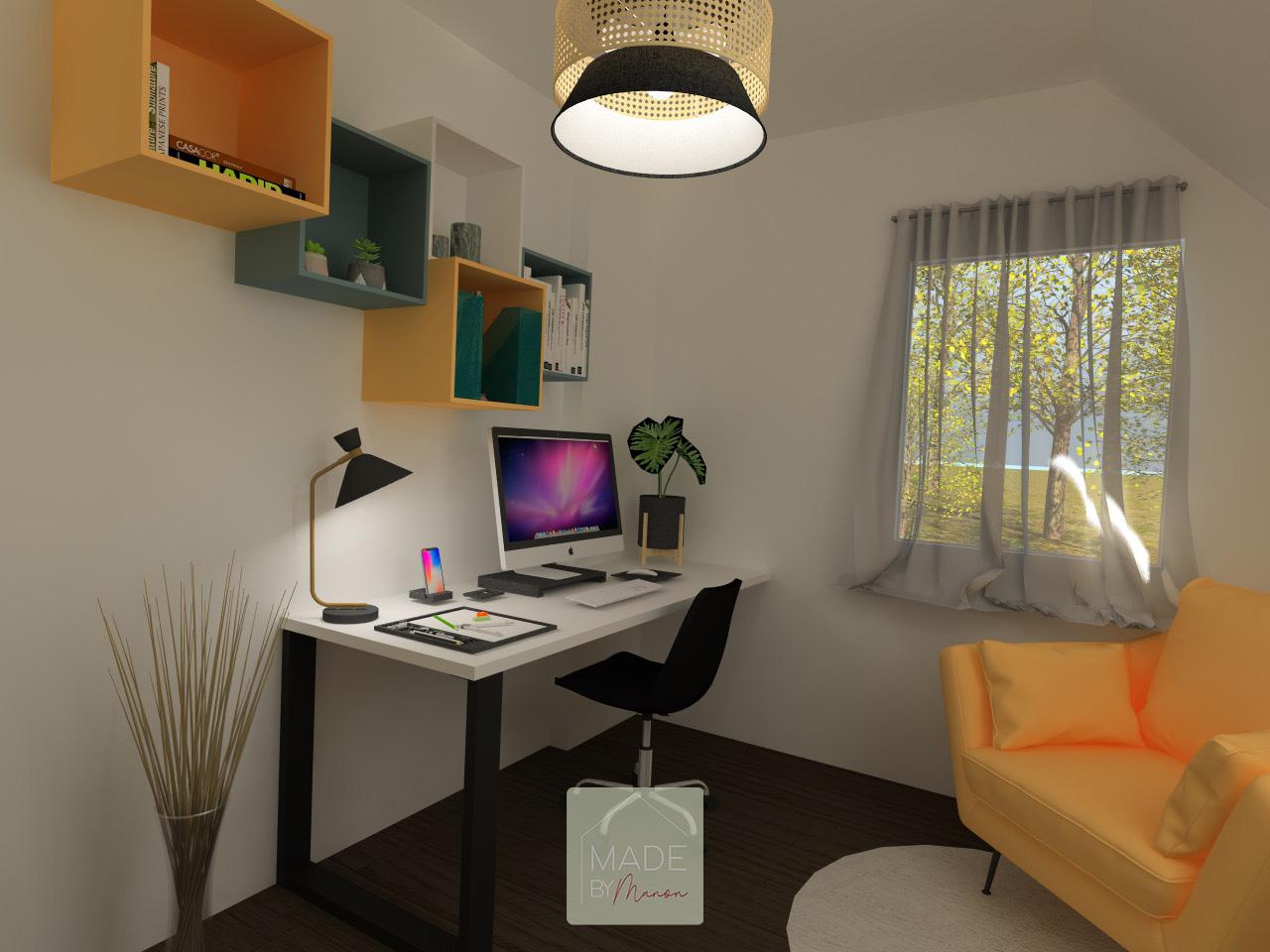 Bureau pour télétravail avec rangement et fauteuil jaune