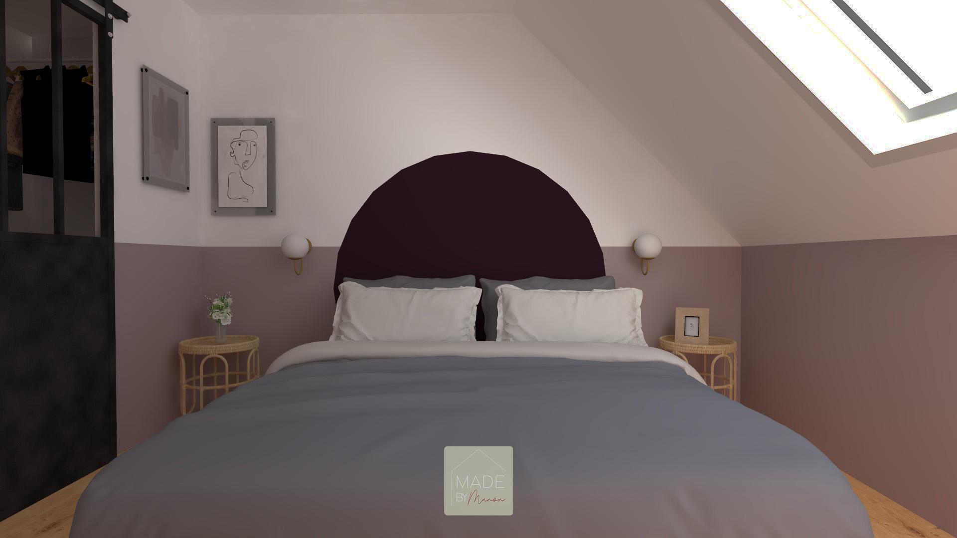 Chambre parentale avec tête de lit ronde et prune