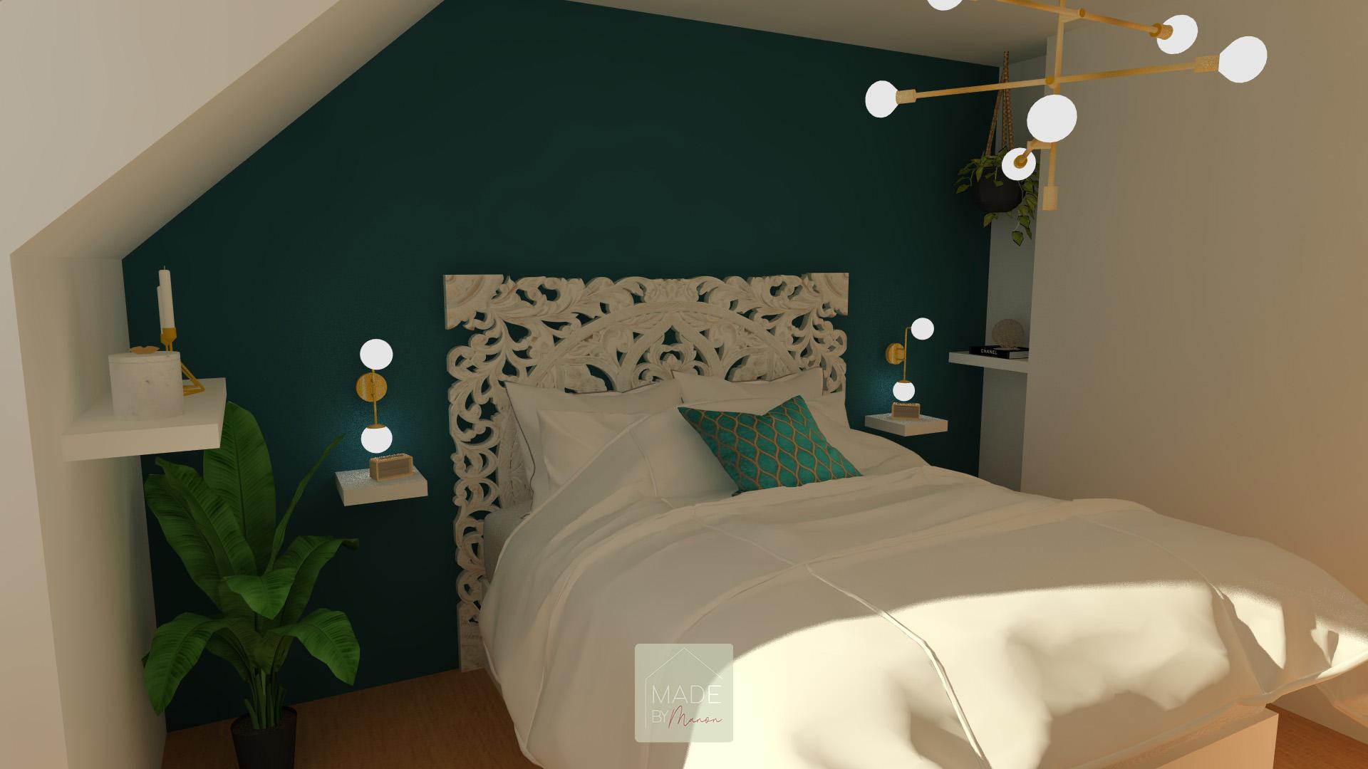 Chambre parentale bleue canard avec tête de lit en manguier