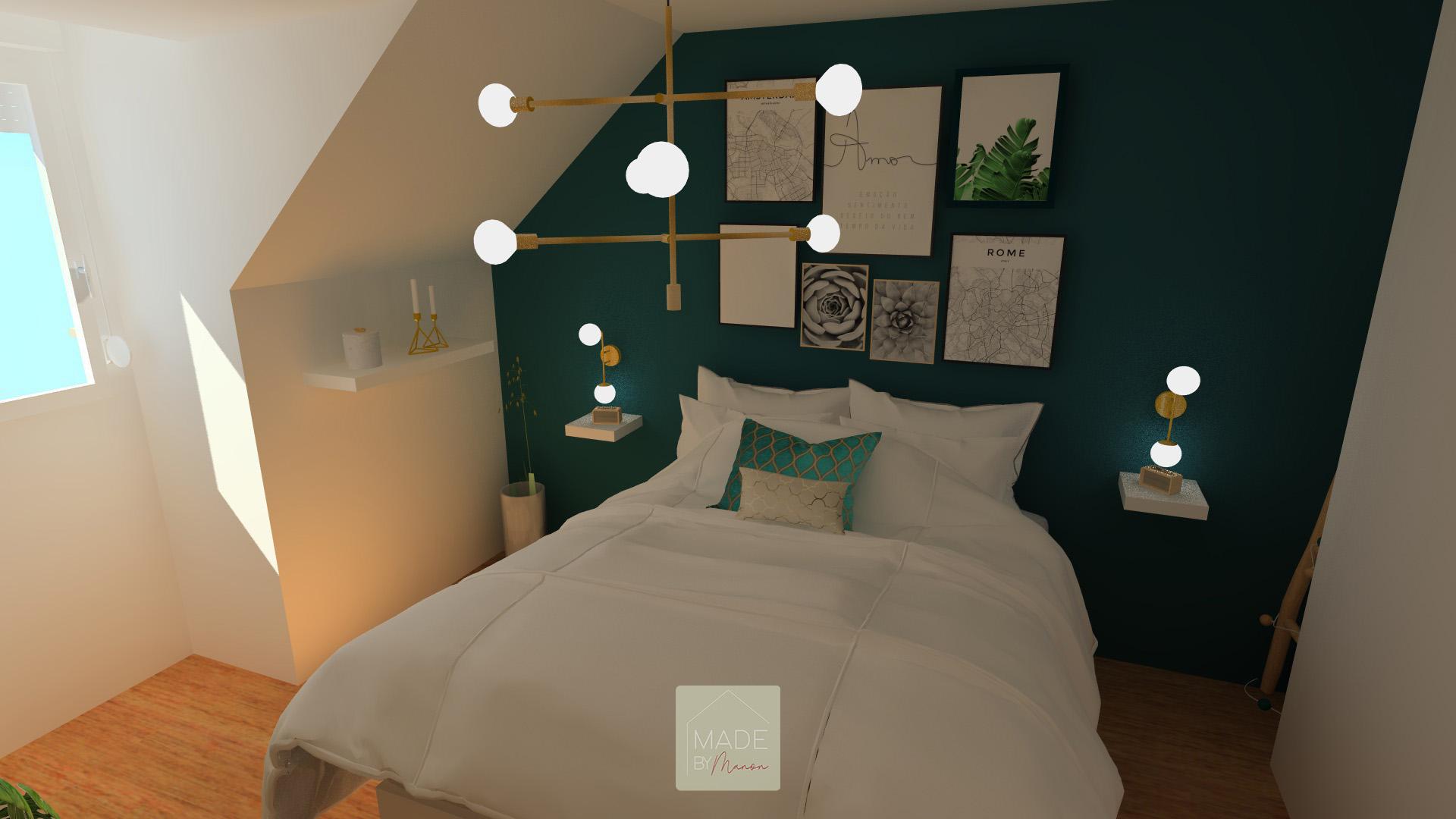 Chambre parentale bleue canard avec cadres en tête de lit