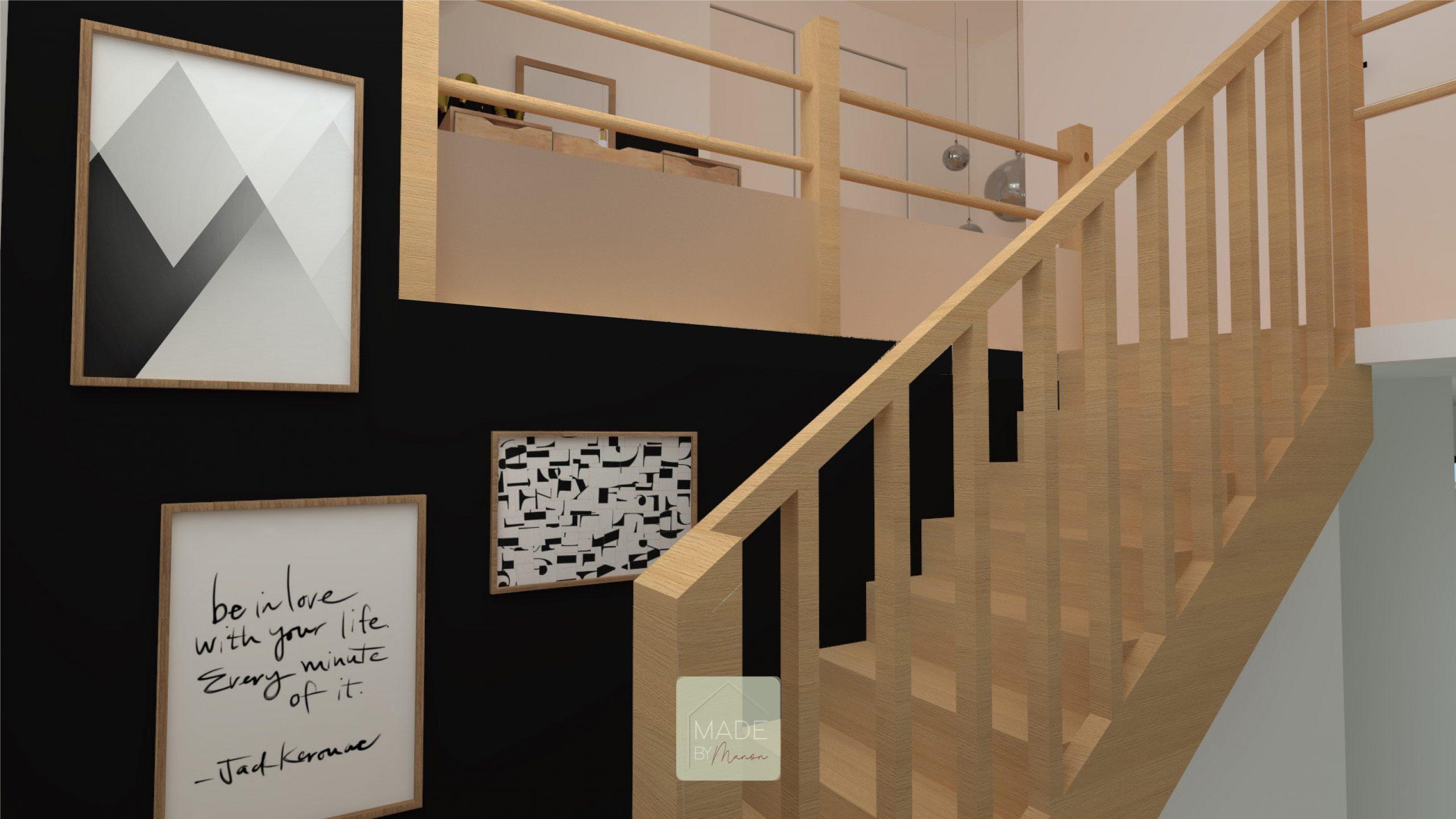 Escalier en chêne clair avec vide sur hall