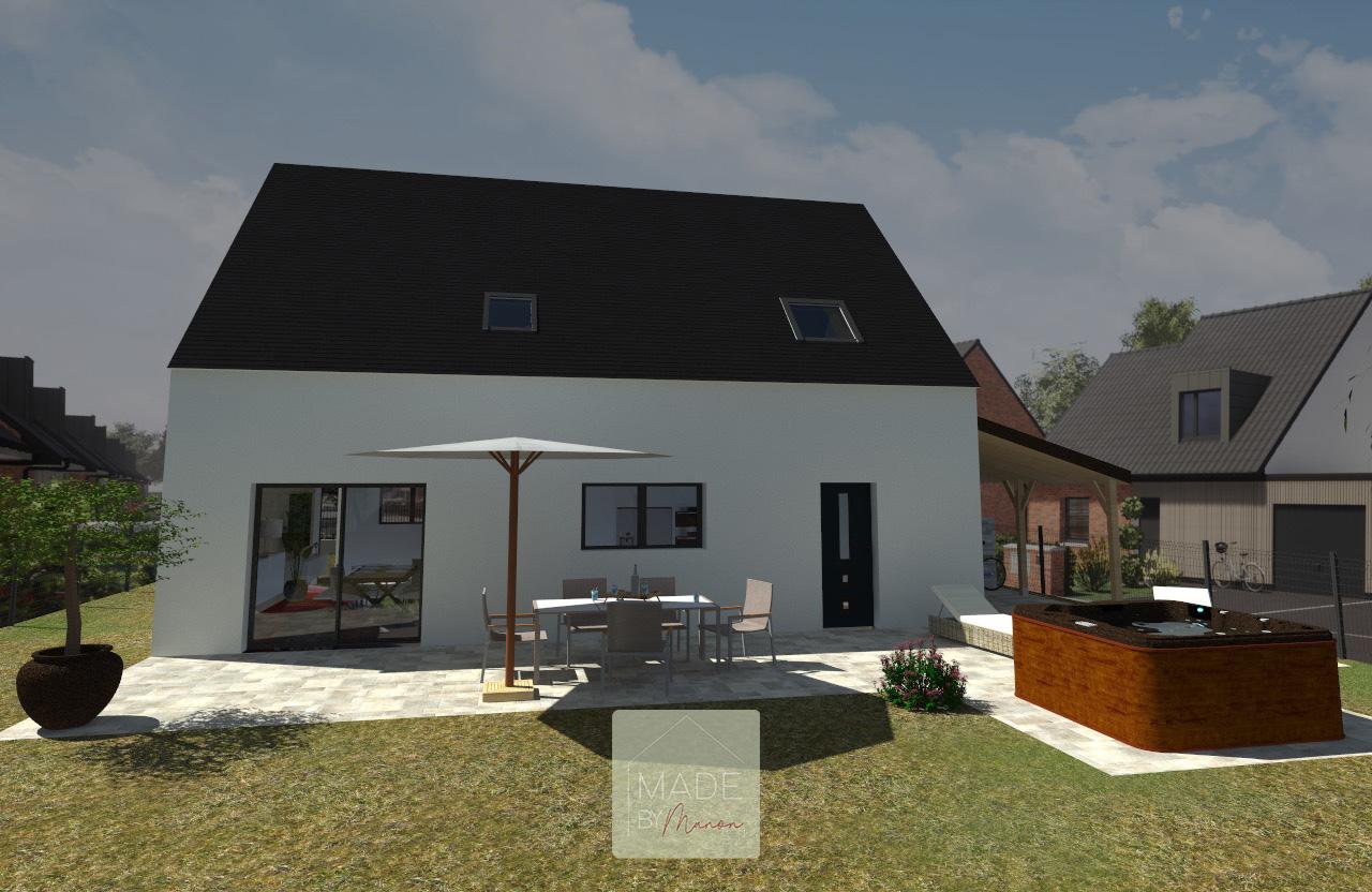 Projection maison construction avec jardin et jacuzzi