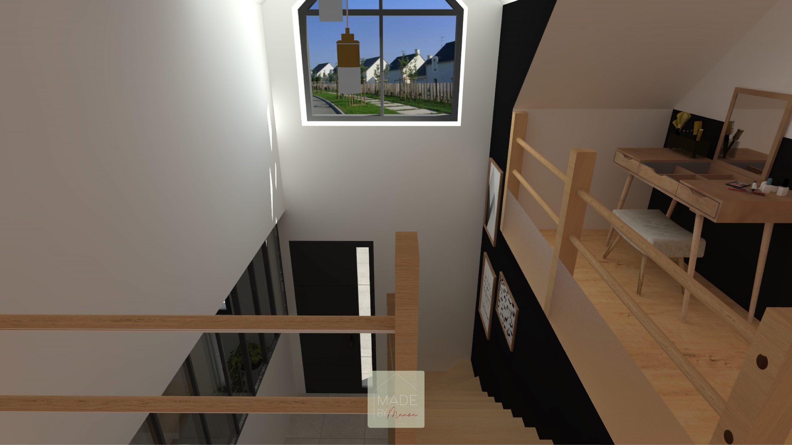 Vide sur hall avec escalier en chêne clair