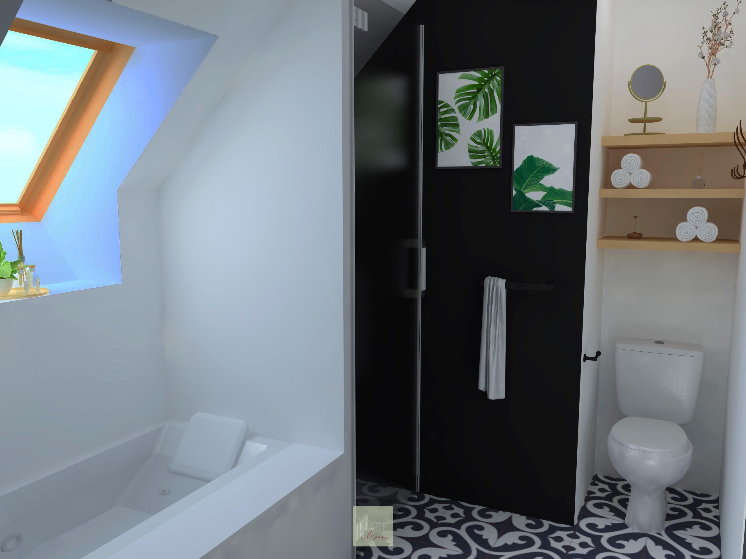 Salle de bain avec baignoire, douche et WC