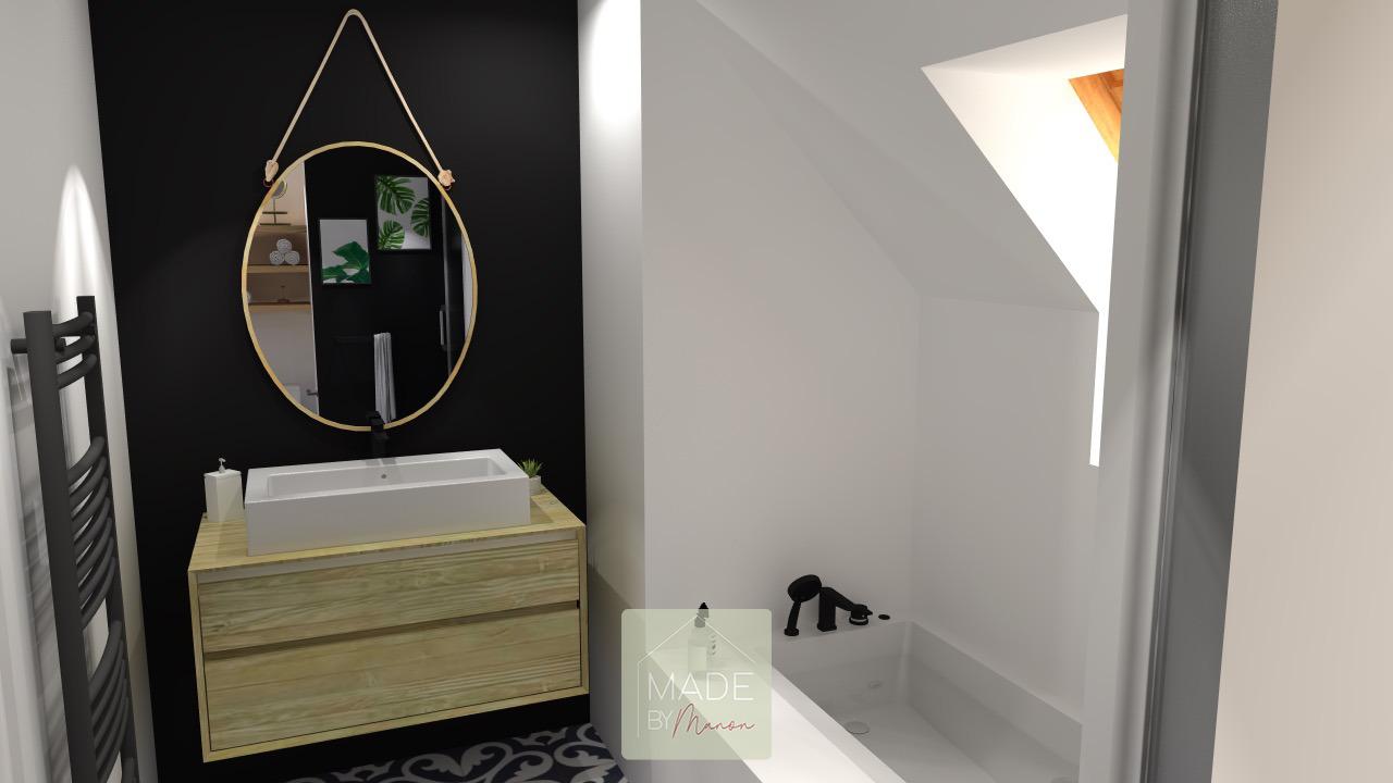 Salle de bain avec baignoire, douche et miroir ovale