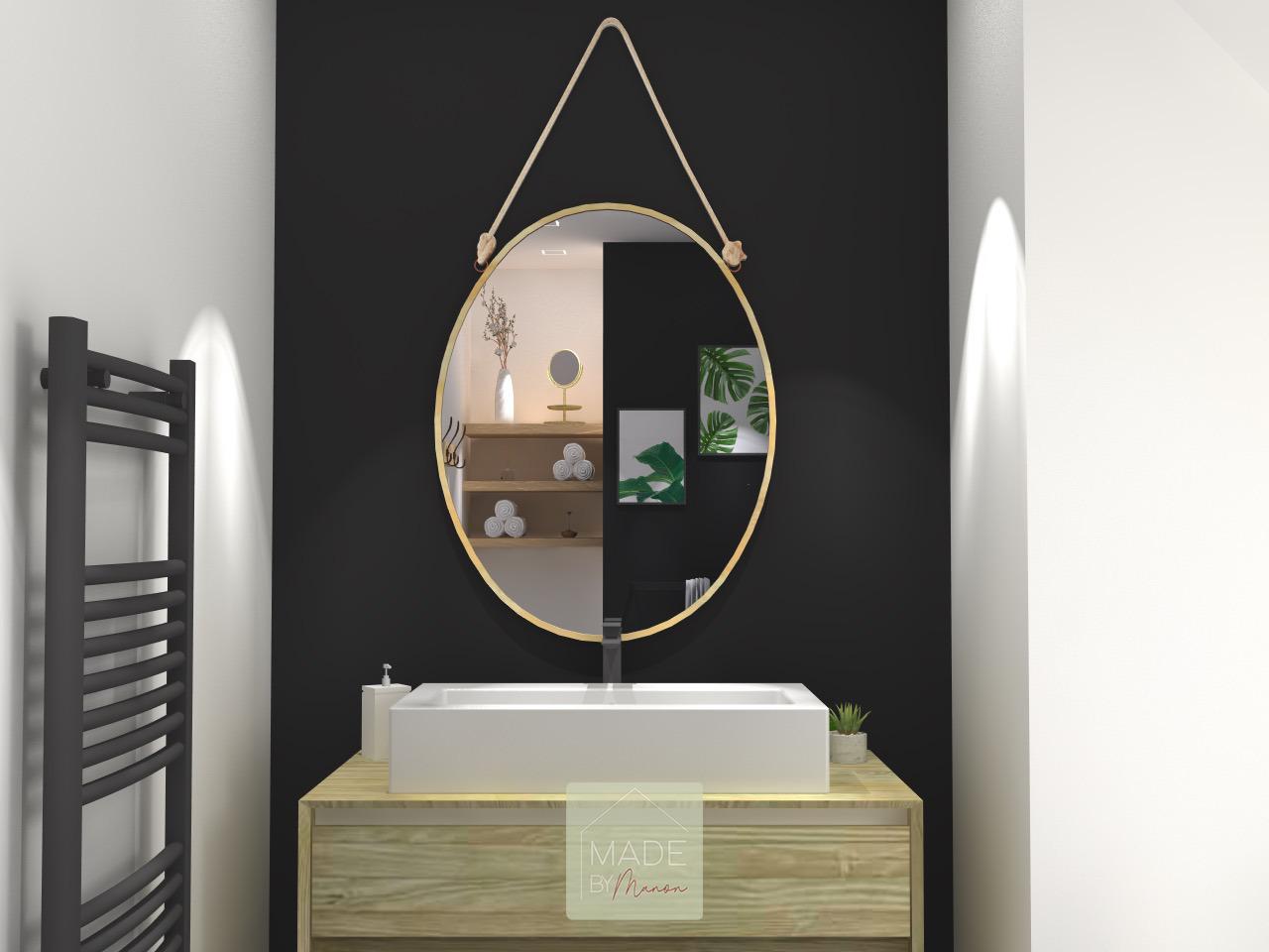 Salle de bain avec mur ardoise