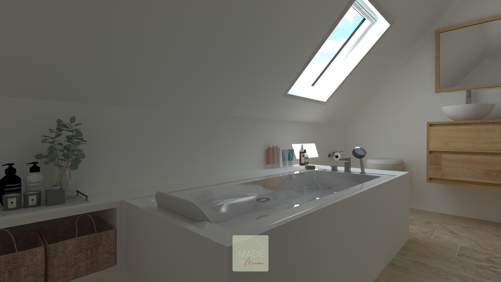 Salle de bain avec baignoire et travertin au sol