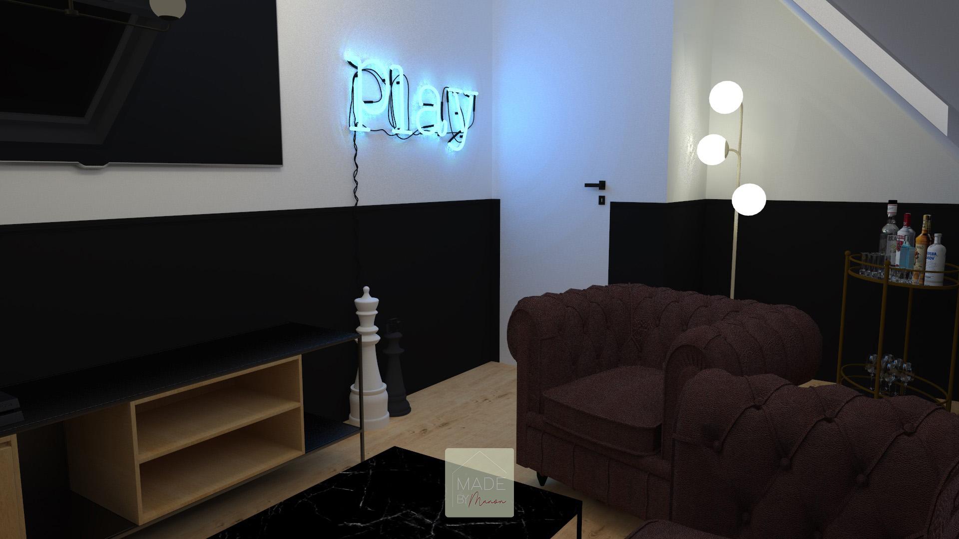 Salle de jeux avec canapé et bar