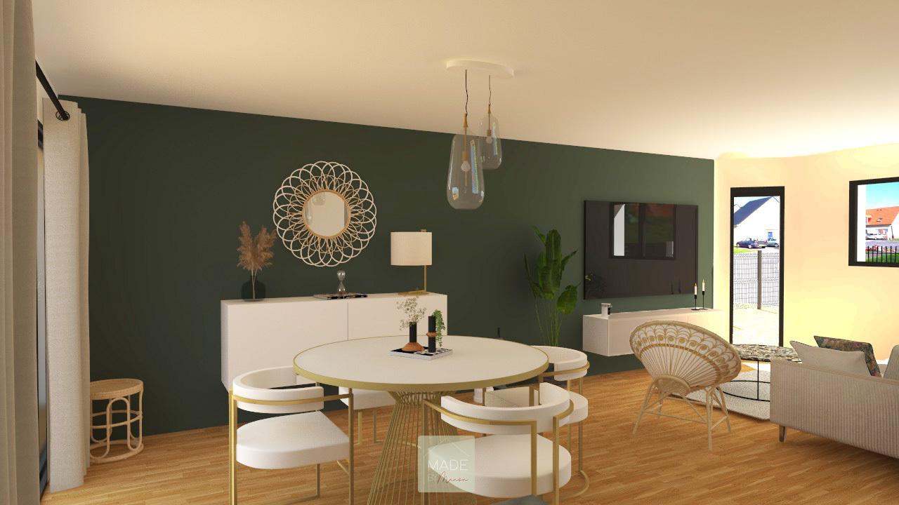 Salon / salle à manger aux allures vintages vert sapin