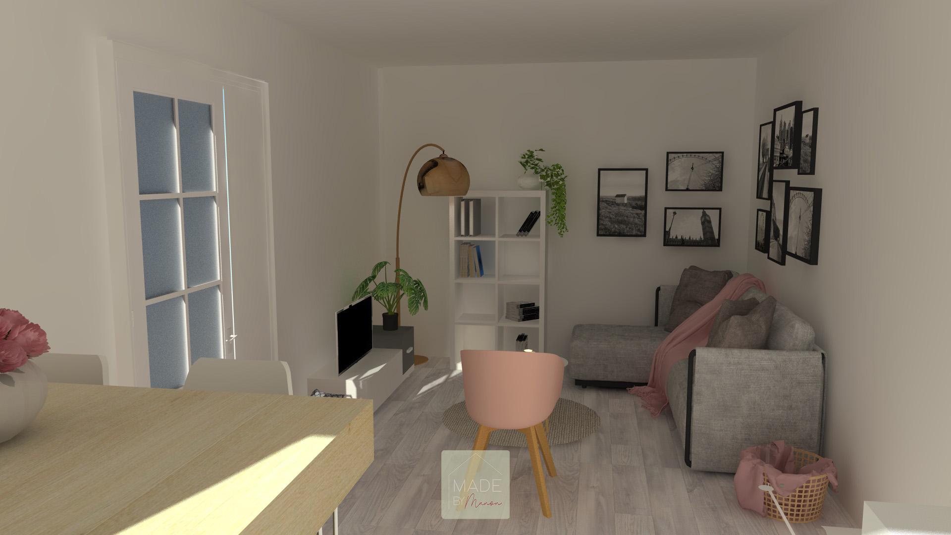 Appartement parisien avec canapé gris et décoration rose